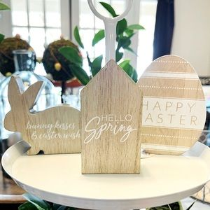 Set of 3 Mini Wood Easter & Spring Signs
